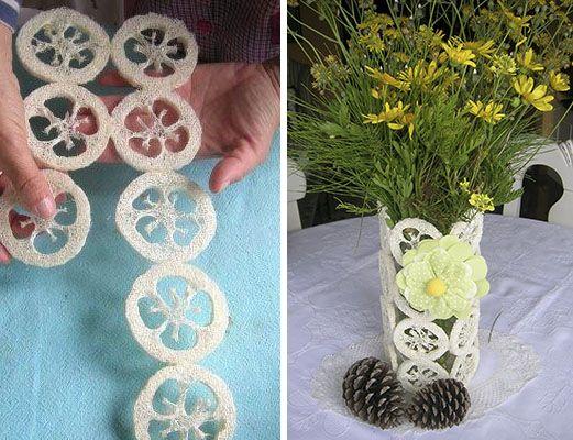 Cómo hacer un jarrón muy especial reciclando una esponja vegetal.