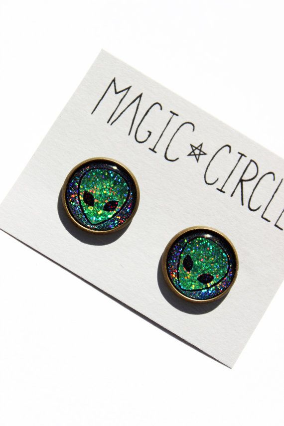 "Holographic Alien Earrings or Plugs UFO 90s Grunge 0g 00g 7/16"" 1/2"" 9/16"" 5/8"""
