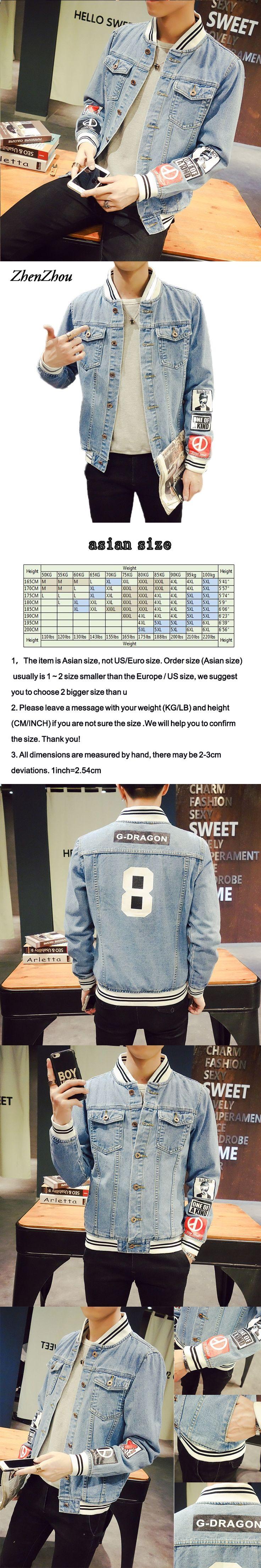 ZhenZhou S-5XL Denim Stand Collar Jeans Jacket Men JC46  Bomber Jacket Men Veste Homme Chaquetas Hombre 2016