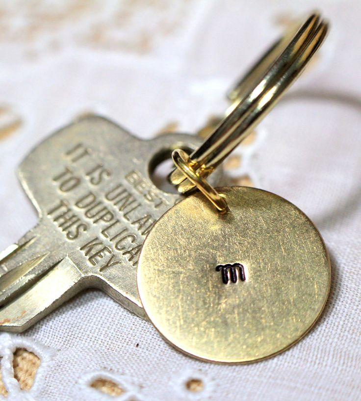 Custom Initial Stamped Brass Key Ring