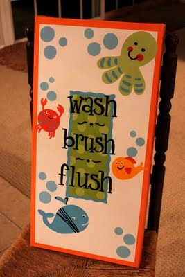 Found this on The Peanut Paintshop.  I think I'm going to do this in a duck theme for my boys' bathroom.