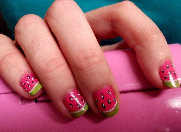 watermelon nails: Pink Summer, Fun Summer Nails, Watermelon Mani, Summer Looks, Ladybugs Nails, Lasagna Recipes, Watermellon Nails, Watermelon Nails, Solid Pink