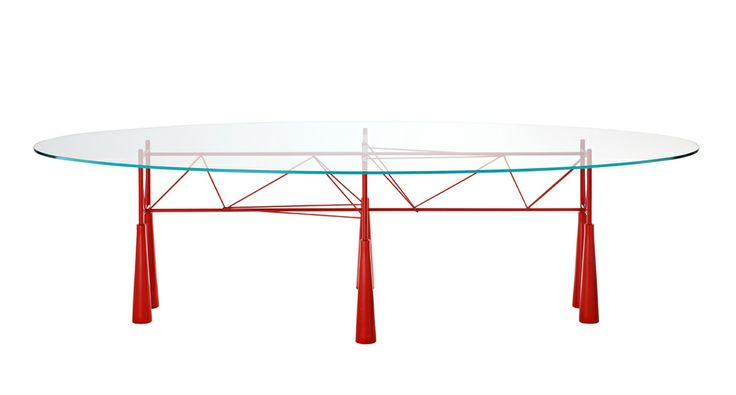 LYBRA by Elliott Littman Orange or silver grey painted steel structure with tempered glass th 12 mm or th.