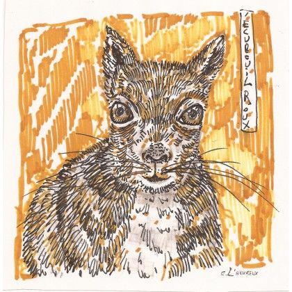 L'écureuil roux #markers #squirrel #animal