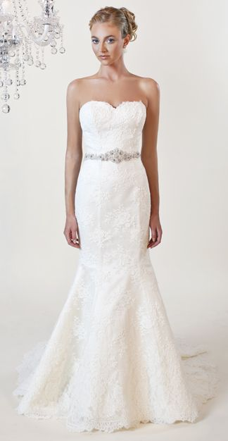 Strapless Alencon lace gown with Swarovski crystal belt. Shown in diamond white, non-silk versions available.