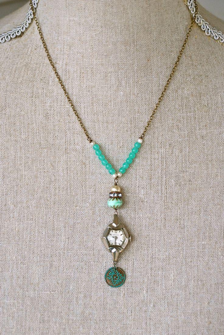 Bohemian time.vintage assemblage,antique watch necklace. tiedupmemories
