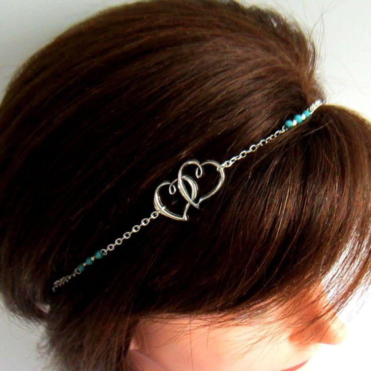 Head band coeur argenté et bleu, coiffure mariage, saint valentin, collier, bijou de tête : Accessoires coiffure par color-life-bijoux