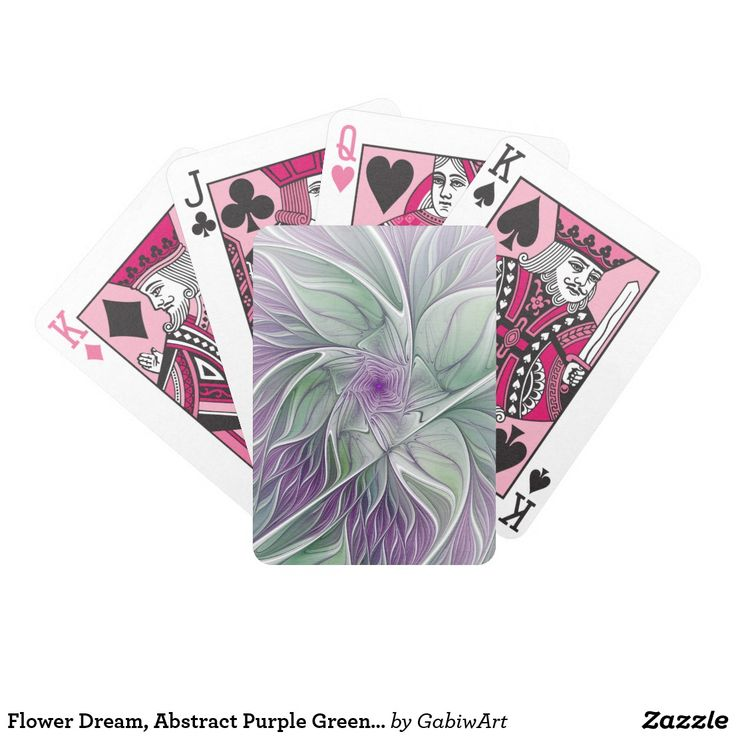 Flower Dream, Abstract Purple Green Fractal Art Bicycle Playing Cards
