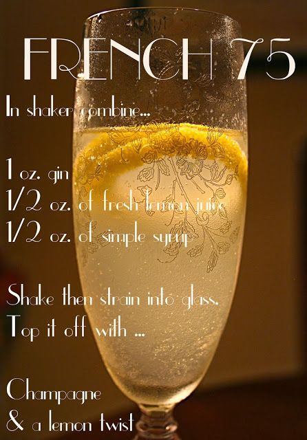 The French 75 or a Nye 75  Seagram's gin, Lemoncello, lemon juice, topped with champagne and served up