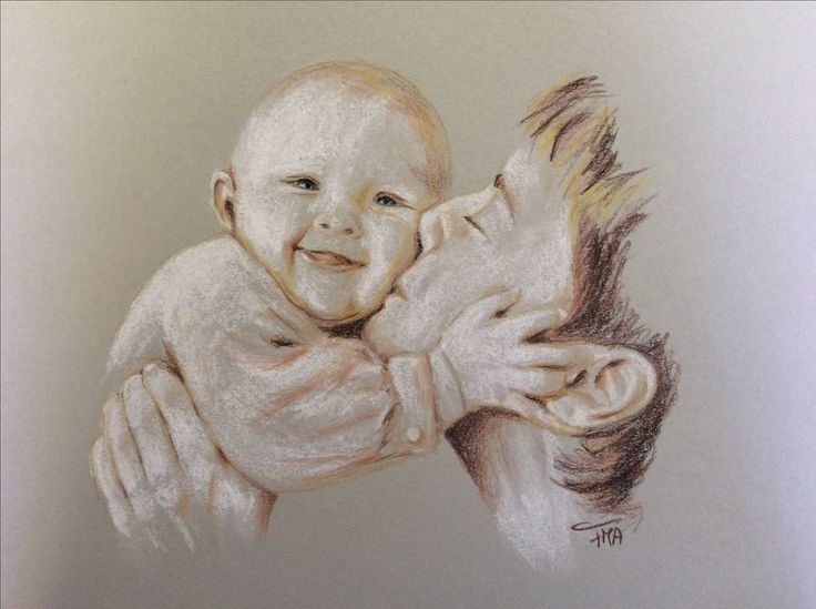 Unconditional love. Colour pencil on grey paper. By Fiona Ansink.