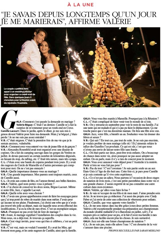 Mariage Valerie Begue & Camille Lacourt _ Gala