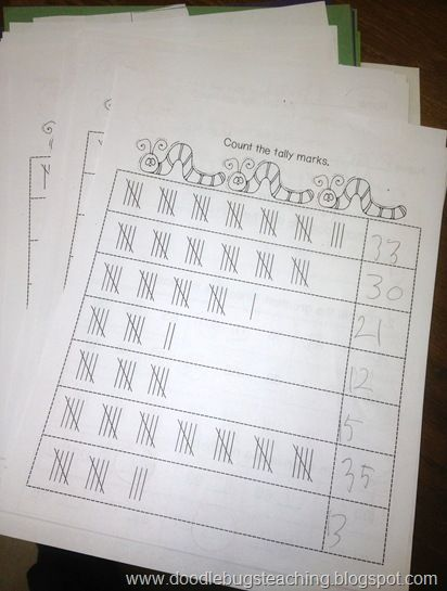 Doodle Bugs Teaching {first grade rocks!}: Free Math Sheets. Practice addition, counting tally marks, counting by 5 to 200