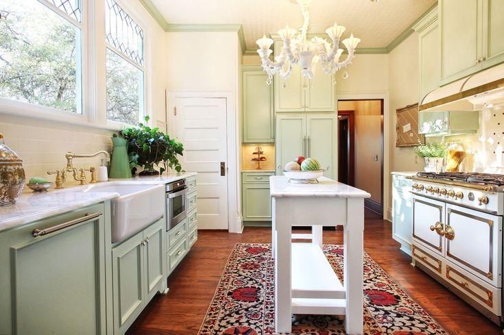 wide Galley Kitchen Designs with Islands   narrow kitchen island for galley kitchen design with chandelier ...