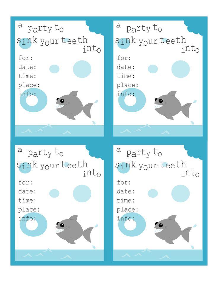 shark birthday invitations printable printable pinterest shark. Black Bedroom Furniture Sets. Home Design Ideas