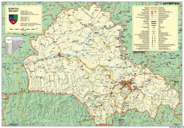 Harta judetului Brasov, 140 x 100 cm