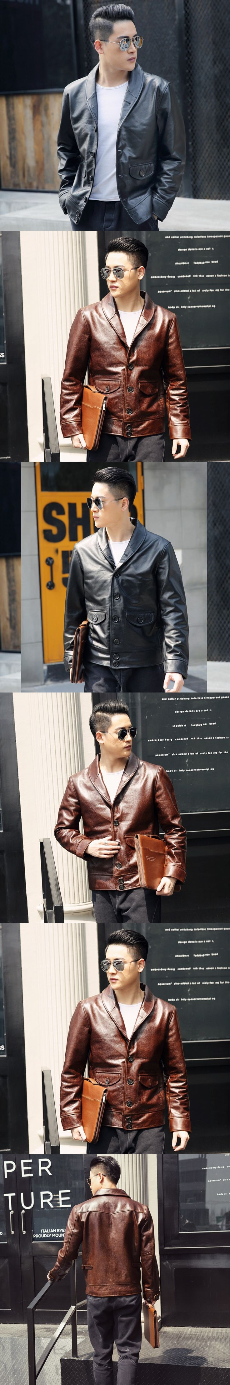 2018 Men Brown Genuine Leather Jacket Single Breasted Real Thick Cowhide Winter Russian Smart Casual Leather Coat Plus Size 3XL