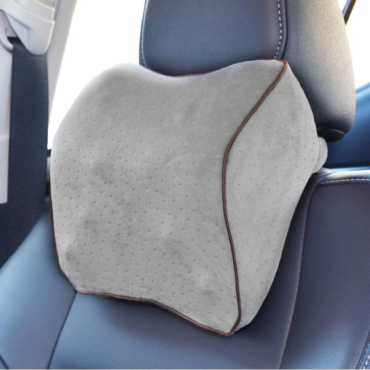 Vitodeco Velour Neck Pillow for Travel - Best Memory Foam Travel Cushion; Neck Pillow; Car Pillow; Neck Rest pillow; Neck Support Pillow with Massage Spots (Gray)