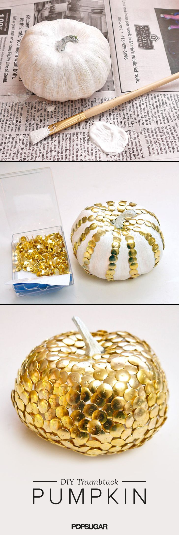 Not excited about carving pumpkins? Show your Halloween spirit with the help of a plastic pumpkin and a box of thumbtacks from the dollar store. Get creative with a design or keep it simple and cover the entire pumpkin for a cute seasonal decoration that lasts for years and years. Here's how to make one: