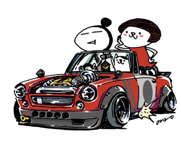 "car illustration""crazy car art""jdm japanese old school ""FAIRLADY""original cartoon ""mame mame rock""  /  © ozizo"