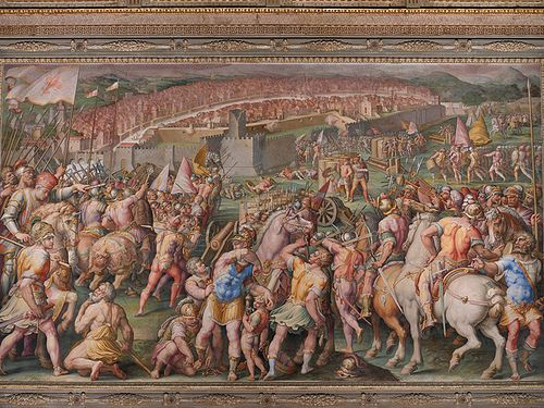 """The storming of the fortress of Stampace in Pisa"", Giorgio Vasari, Giovan Battista Naldini, Jacopo Zucchi, 1568-71, fresco painting, Salone dei Cinquecento, Palazzo Vecchio, Florence, Mannerism, Italian painting of th XVI century www.musefirenze.it"