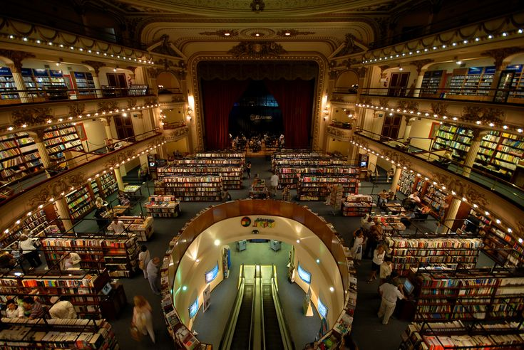 This is my favorite bookstore in Buenos Aires, called El Ateneo Grand, converted from a theater and full of books, the most beautiful bookstore in the world.