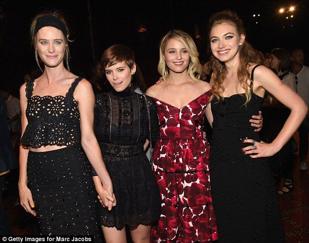 Party pals: Dianna chatted to (L-R) Mackenzie Davis, Kate Mara and Imogen Poots, who all w...