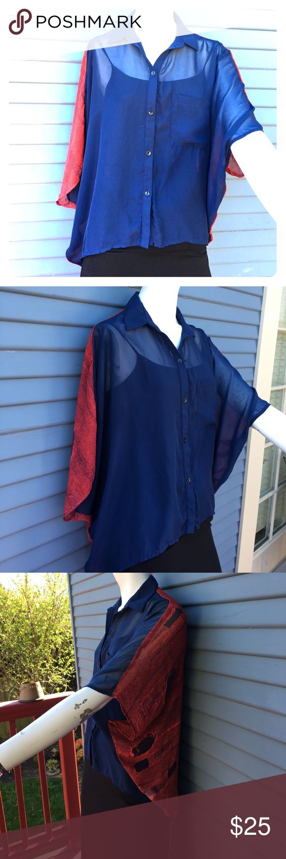 ❤Beautiful baggy shirt by Selena size small💙 Beautiful blue and red shirt size small by Selena and in great condition Tops Blouses