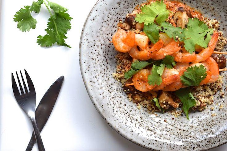 Quinoa met garnalenspiezen | Skinny Six | Chickslovefood