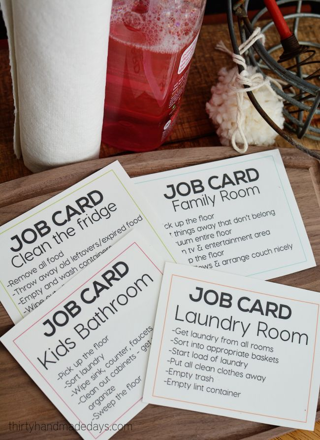 Printable job cards as a consequence for behavior (a way to discipline teens) thirtyhandmadedays.com