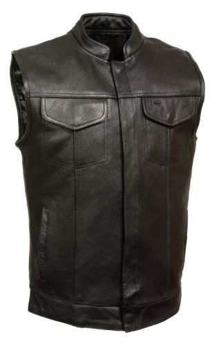 SOA Men's Basic Cowhide Leather Motorcycle Vest w/ 2 Inside Gun Pockets Collared & No Collar versions (Large, With Collar) http://suliaszone.com/soa-mens-basic-cowhide-leather-motorcycle-vest-w-2-inside-gun-pockets-collared-no-collar-versions-large-with-collar/