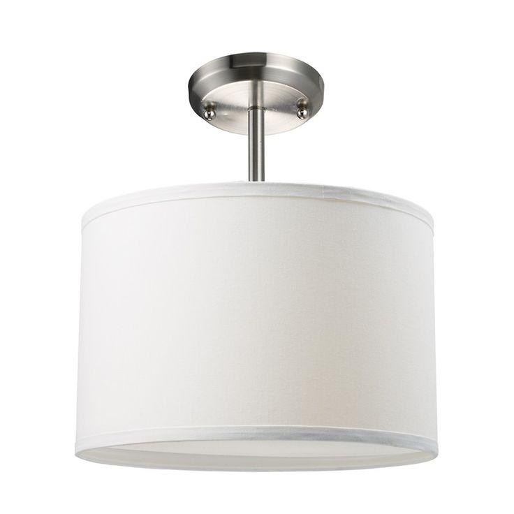 Albion White Drum Semi-Flush Mounted Ceiling Light   White ...