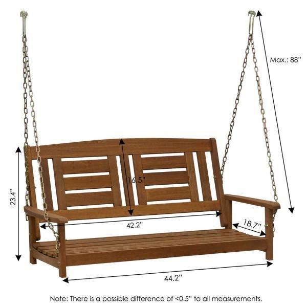 Furinno Tioman 2 Person Wood Porch Swing Fg16409sc The Home Depot In 2020 Hanging Porch Swing Porch Swing Diy Porch Swing