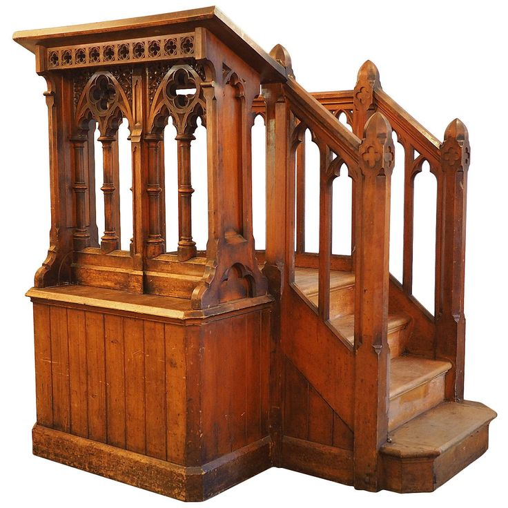 Victorian carved church pulpit in the gothic style