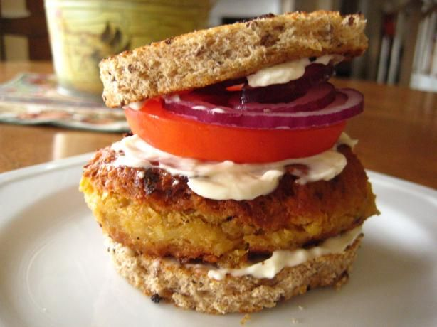 Chickpea Burger from Food.com:   								This burger is so delicious, you will not miss the meat, promise!  Here's a tip:  If you don't want this patties to fall apart, you absolutely need to make a rough chop while processing, also try making thinner patties.