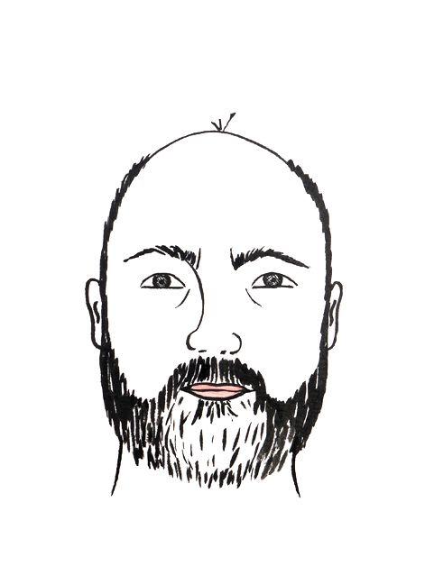 Portrait Mann mit Bart,  lustig, comicartig, liebevoll, Karikatur,  Tusche auf Künstlerpapier Din A4