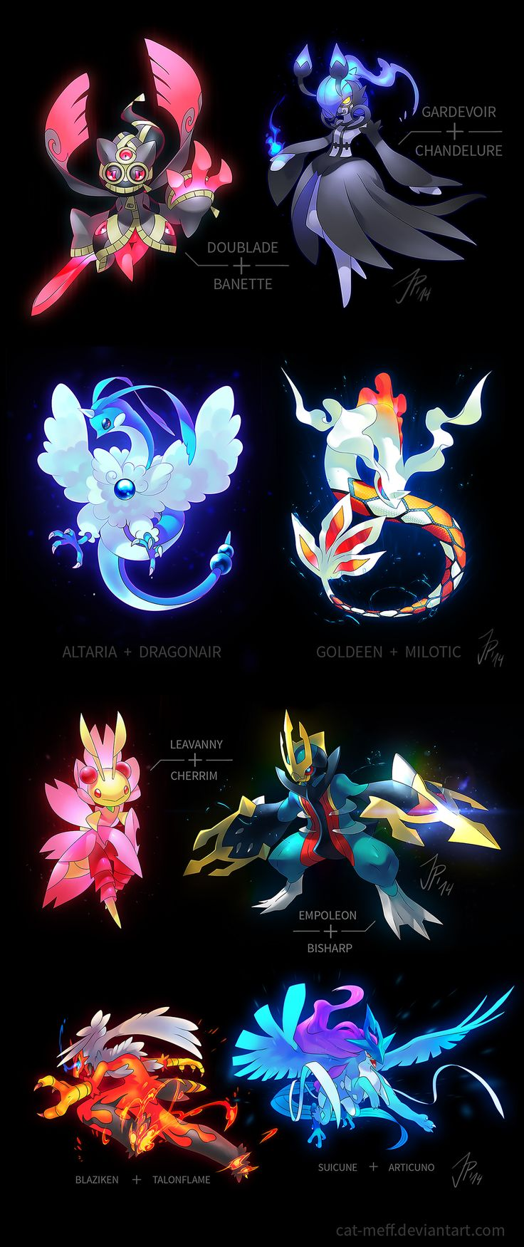 A bunch of Pokemon Fusions by cat-meff..... You have no idea how badly I want there to be a game where you can fuse Pokemon !