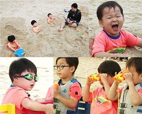 """On the upcoming episode of """"Superman Returns,"""" the Song triplets take a trip to Busan where Song Il Gook and his wife went on their honeymoon. When they arrive at a beach, Manse gets so surprised even at the littlest wave and runs far away from the shore. He shouts, """"Waves, please ..."""