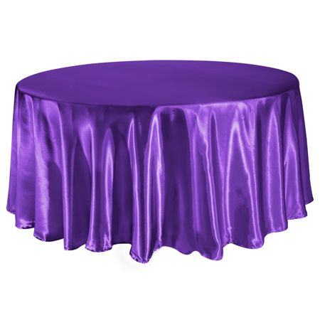 TCSN-120PP 120 Inch Round Satin Purple Tablecloth