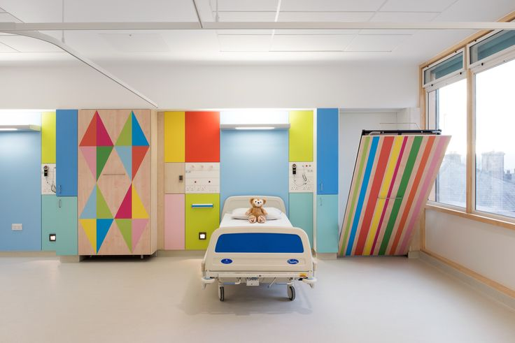 """Morag Myerscough transforms rooms in Sheffield Children's Hospital    The designer was commissioned by Artfelt to create colourful, """"uplifting"""" designs for the hospital, with the aim of improving the environment for patients and staff."""