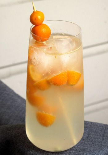 Kumquat Fizz - From Susannah Chen    Ingredients  8 kumquats, cut in half  1 tablespoon lemon juice  3 tablespoons ginger syrup  1-1/2 ounces vodka  Club soda  2 whole fresh or candied kumquats, for garnish (optional)    Directions  In a mixing glass, muddle together kumquats, lemon juice, and ginger syrup.  Add vodka; pour into a highball glass filled with ice.  Top off the glass with club soda. Garnish with two fresh or candied kumquats.  Makes 1 drink.