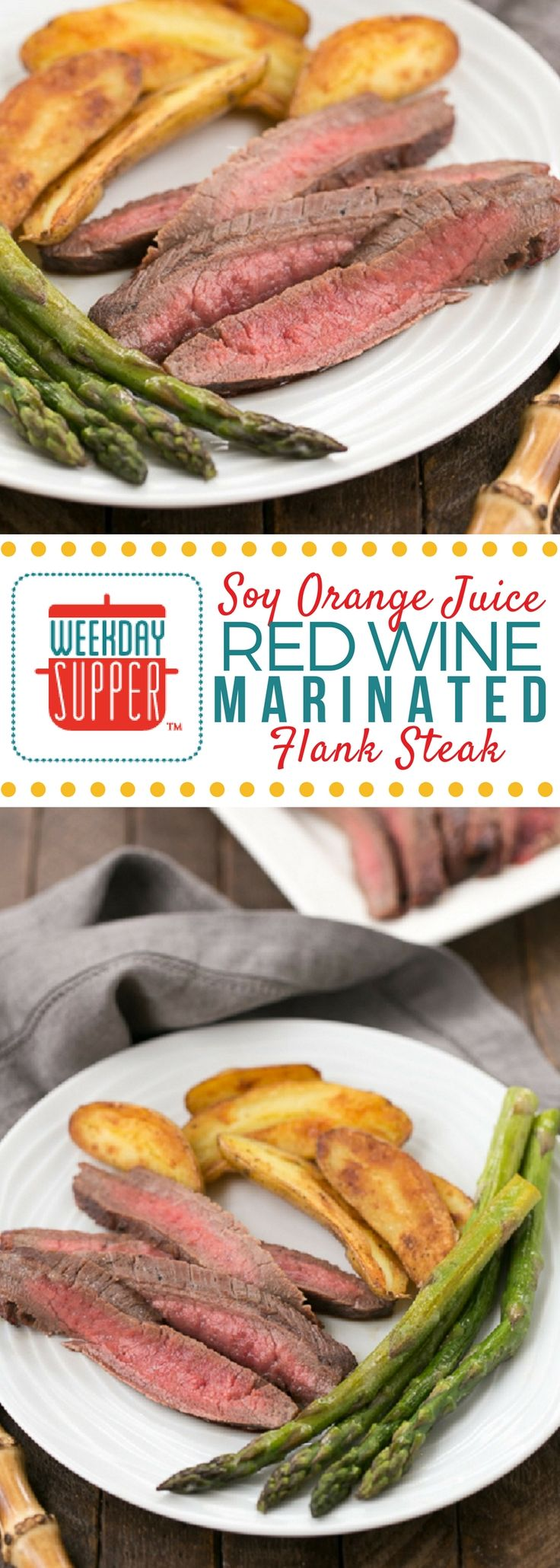 This simple marinade of soy, orange juice and red wine creates a perfectly flavorful, tender marinated flank steak your family will love! #WeekdaySupper #BestBeef