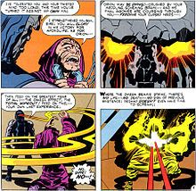 Darkseid wipes DeSaad from existence with one Omega beam blast