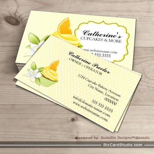 Orange slice cupcake bakery business cards bakery for Cupcake business card