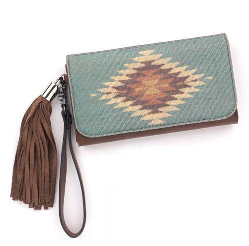 Leather Zip Around Wallet - Centered by VIDA VIDA LA21GRF