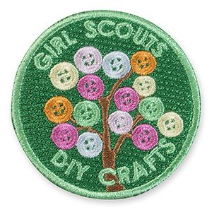 """DIY CRAFTS IRON-ON PATCH #58365 $2.00 2"""" round Embroiderd patch. All Fun Patches are unofficial and are not to be worn on the front of the Girl Scout sash, vest or tunic. All fun patch designs are exclusively owned by Girl Scouts of the USA."""