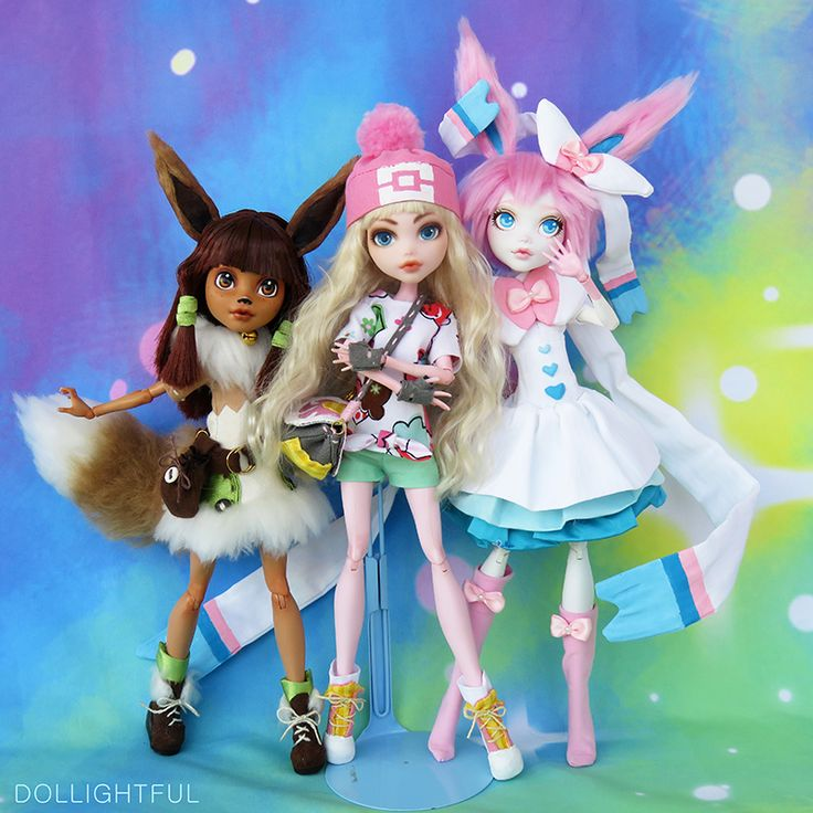 Pokemon Trainer Katherine with Eevee and Sylveon by Dollightful