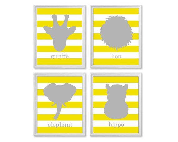 Garçons pépinière Art, toute couleur, ensemble d'impressions 8 x quatre 10, pépinière gris et jaune Art, animaux de Zoo Safari girafe élépha...