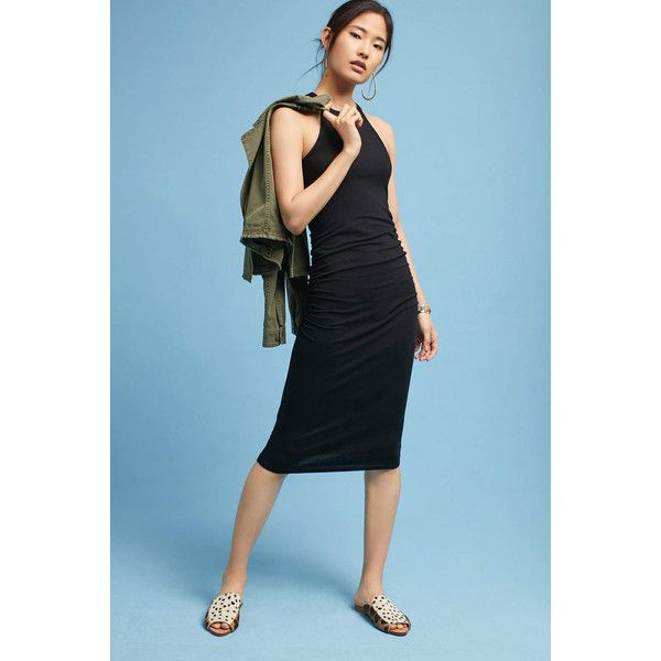 Michael Stars Halter Knit Dress ($88) ❤ liked on Polyvore featuring dresses, black, halter strap dress, halter-neck dress, halter dress, knit halter top and halter-neck tops