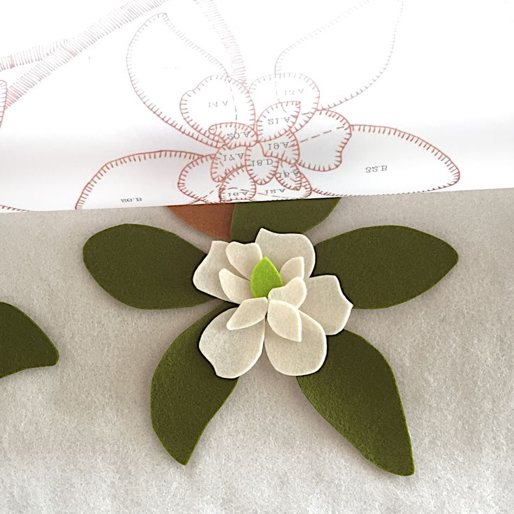 Magnolia wool applique kit work in progress nearly ready for Mother's Day! birdiebrown.co.nz