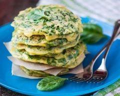 Pancakes sal�s aux �pinards et ricotta